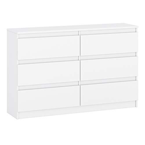 Sideboard Kommode mit Schubladen Sideboard Mehrzweckschrank Schrank fur Wohnzimmer Schlafzimmer Kinderzimmer Garderobe Flur (White, 6 Schubladen (120x30x77 cm))