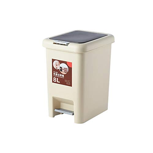 XVXFZEG Kunststoff-Papierkorb, Treteimer verdicken Durable Trash Can Eimer mit Deckel Covered for Badezimmer, Küchen, Home Offices, Kinderzimmer, Waste Paper Trash Can Recycling Bins (Color : Beige)