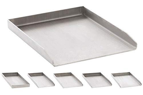 Edelstahl Grillplatte für den Gasgrill, Kohlegrill und den Elektrogrill I Bratplatte mit glatter Oberfläche, Farbe:edelstahl, Größe:30x40x3.6 cm