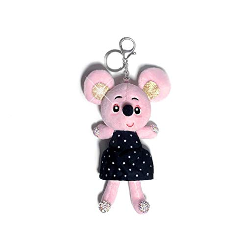 NYKK Keyring Cartoon Mouse Plush Keychain Pendant, Diamond Car Keychain Pendant, Cute Ladies Rhinestone Bag Bag Decoration, Car Key Pendant Gift (pink) Keychain (Color : A)