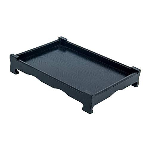 Tubayia Bandeja de madera para servir, bandeja de té, para tartas, frutas, aperitivos, postres, etc. (negro, 460 x 310 x 55 cm)