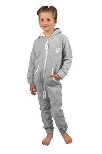 Gennadi Hoppe Kinder Jumpsuit Overall Jogger Trainingsanzug Mädchen Anzug Jungen Onesie,hell grau,7-8 Jahre