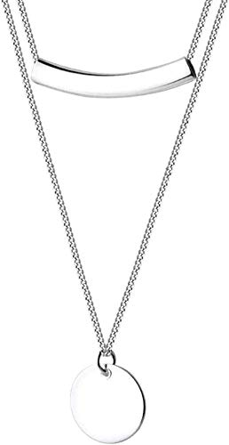 Necklace Necklace For Women Men Women Silver Pendant Necklaceelegant Charm 925 Layer Chain Geometric Round Disc Curved Tube Choker Pendant Necklace For Women Party Jewelry Pendant Nec