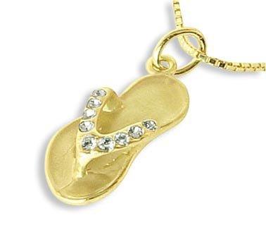 Flip Flops Charms Ketten-Anhänger echt 14 Karat Gold 585 mit Zirkonia (Art.212199)