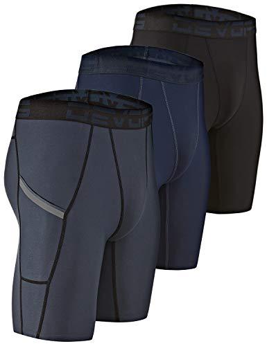 DEVOPS Men's Compression Shorts Underwear with Pocket (3 Pack) (Large, Black/Charcoal/Navy)