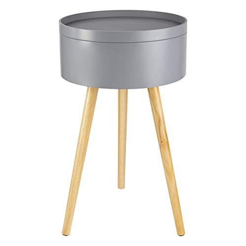 ONVAYA® Mesa auxiliar Sofia de madera, 35 cm de diámetro, 38 cm de diámetro, mesa de centro redonda (gris, madera, diámetro de 38 cm)