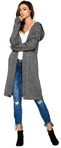 Lemoniade hochwertiger, modischer Cardigan mit Kapuze Knielang - Strickjacke Damen Jacke lang Mantel Strickmantel (LS213 900552 dunkelgrau)