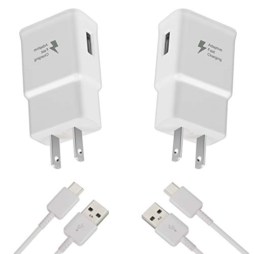 Auorld Adaptive Fast Wall Charger Adapter with USB Type C Cable Compatible with Samsung Galaxy S10 S10e/ S9 /S9+ /S8 /S8+/Active/Note 9 /Note 8, LG G6 G5 V30 V20, Google Pixel 2 Nexus 5X 6p