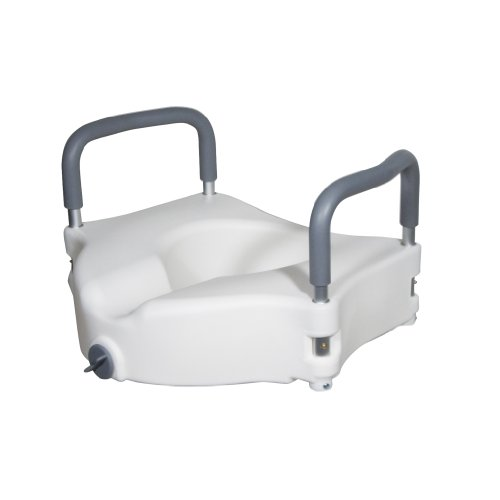 Drive Medical RTL12027RA Elevated Raised Toilet Seat with Removable Padded Arms, Standard Seat