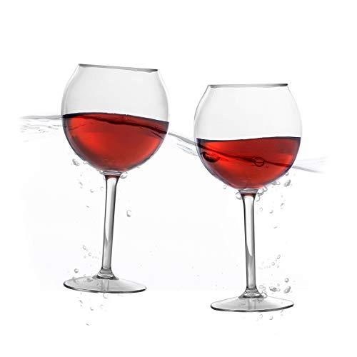 Schwimmende Weingläser für Pool (510 ml, 2er-Set) – Pool-Weingläser schwimmen | bruchsichere Weingläser am Pool | schwimmende Tasse | Strandglas | Outdoor-Tritan-Kunststoff-Weingläser mit Stiel