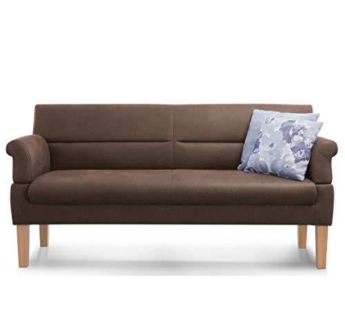 Cavadore 3-Sitzer Sofa Kira mit Federkern / Sitzbank für Küche, Esszimmer / Inkl. Armteilfunktion / 189 x 94 x 81 / Kunstleder braun