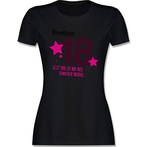Geburtstag - Endlich 18 - M - Schwarz - 18. Geburtstag Geschenkideen - L191 - Tailliertes Tshirt für Damen und Frauen T-Shirt
