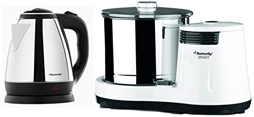 Butterfly EKN 1.5-Litre Water Kettle (Silver with Black) & Smart 150-Watt Table Top Wet Grinder with Coconut Scrapper Attachment (White) Combo