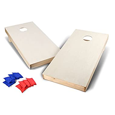 Backyard Champs Wood Cornhole Set, Standard 4 x 2 Foot with Eight 6 inch Regulation Bags Included