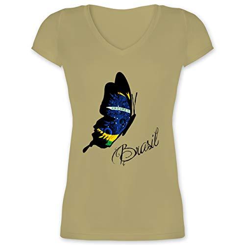 Länder - Brasil Schmetterling - S - Olivgrün - XO1525 - Damen T-Shirt mit V-Ausschnitt