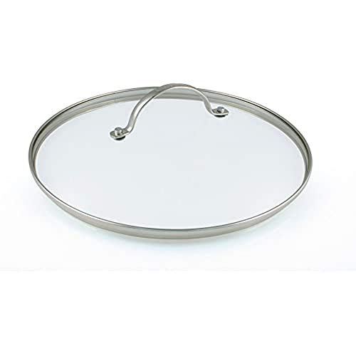 Greenpan 24 cm Tempered Glass with Stainless Steel Rim Univesal Glass Lid with Metal Handle