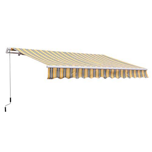 Outsunny Tenda da Sole per Esterno a Bracci 3.5x2.5m, Regolazione con Manovella, Metallo e Poliestere Grigio e Giallo