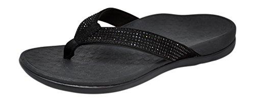 Vionic Women's, Tide Rhinestones Thong Sandals Black 9 M