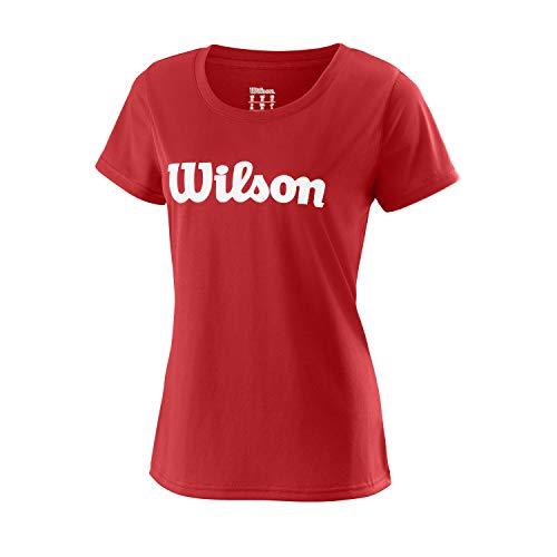 Wilson Mujer, W UWII SCRIPT TECH TEE, Camiseta de tenis manga corta, Poliéster, Rojo (Wilson Red)/Blanco, Talla XS, WRA770510