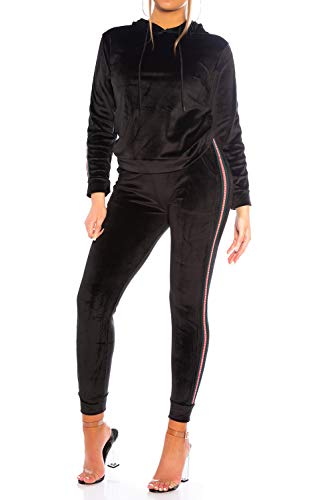 Womens Soft Nicki Sports Suit Velour Tracksuit Cozy Hoodie Set Pants Stretch Waistband, Color:Negro, Talla:S-M