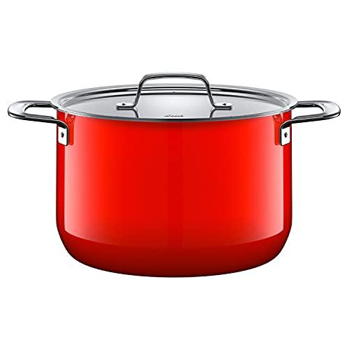 Silit Zeno Red Faitout haut avec couvercle en métal 6,4 l Céramique fonctionnelle Silargan Induction Rouge 24 cm