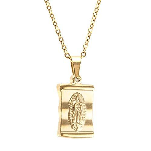 SWAOOS Collar De Acero Inoxidable Virgen María San Benito para Mujer Medalla De Metal De Color Dorado Virgen San Benito