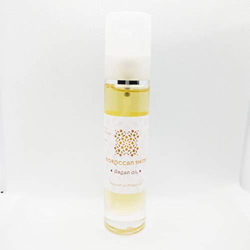 Moroccan Shine Aceite de Argan Cosmetico 100ml Puro 100% Bio Autentico Cuidado de Belleza Antiedad Natural y Spray Hidratante con Vitamina E para Cabello Barba Cuticulas Uñas Piel del Cara y Cuerpo