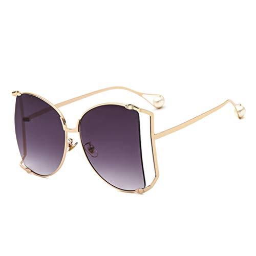 Aroncent Gafas de Sol Mujer Color Negro Gradiente Lentes de Sol Retro sin Polarizado Marco de Metal Dorado Armazon Hueco Perlas Incrustadas Elegante Anti UVA UVB Protección de Ojos Conducir Verano