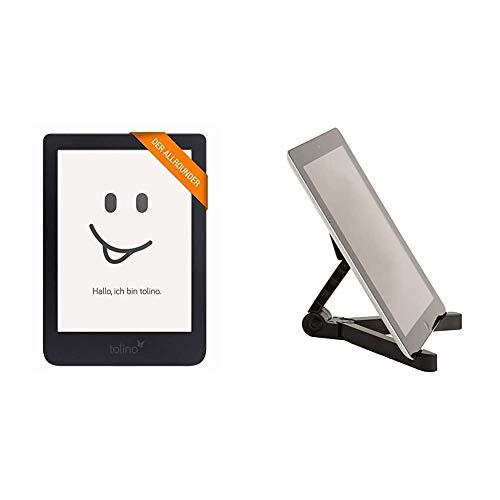 Tolino Shine 3 eBook-Reader Touchscreen 8 GB schwarz - E-Reader (15,2 cm (6 Zoll), E Ink Carta, 1072 x 1448 Pixel, Bildschirmgröße DRM, 8 GB, 25 GB) & AmazonBasics Tablet-Ständer, verstellbar