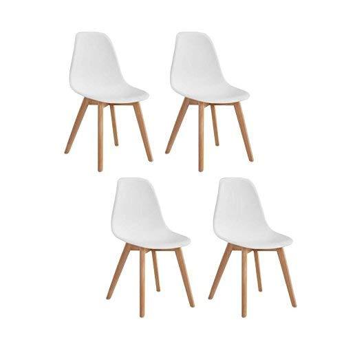 Chaise de Séjour Scandinave, Blanc, 46.5cm x 53cm x 82cm, Lot de 4