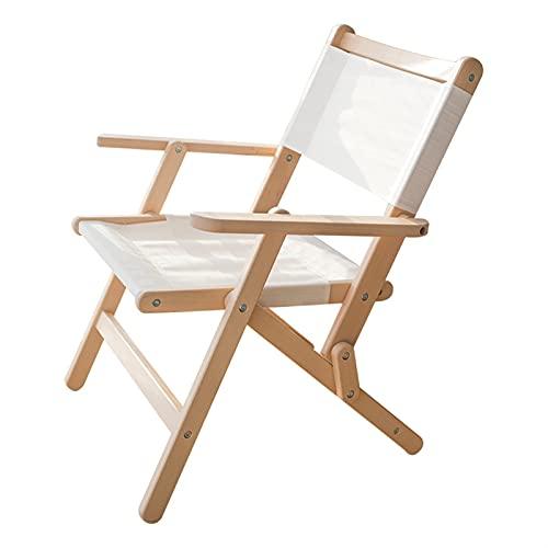 Hanghaijia Silla plegable de madera maciza para exteriores, portátil, diseño cruzado de mariposa, silla de picnic, playa, pesca, ocio (color: blanco, tamaño: grande)