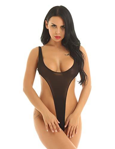 YiZYiF Damen Einteiler Body High Cut Thong Leotard Rückenfrei Unterhemd Bodysuit Stringbody Bikini Thong Badeanzug Weiß Schwarz Schwarz Einheitsgröße
