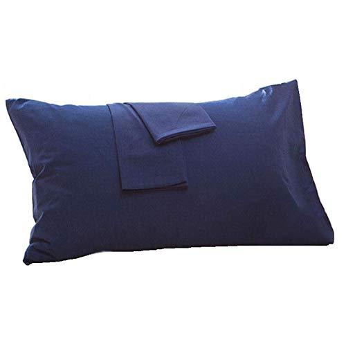 Vommpe 2Pcs Taie d'oreiller 40x60cm 100% Coton Anti Acarien Housse d'oreiller Différentes Couleurs et Tailles Adapté aux Familles, Hôtels Protège Oreiller (Bleu marine-40x60cm)