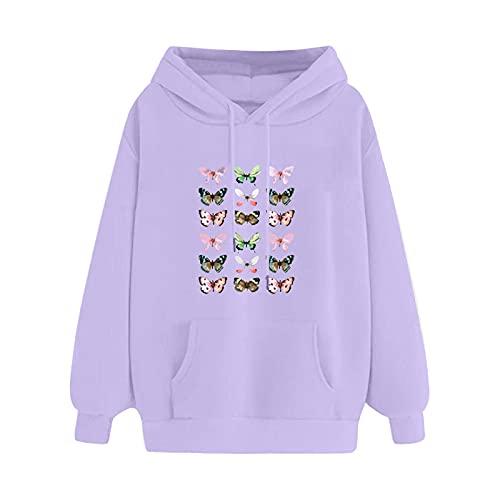 FMYONF Harajuku - Sudadera con capucha y cremallera para mujer, diseño de mariposas, talla grande, con bolsillo, para otoño e invierno, morado, XXXL