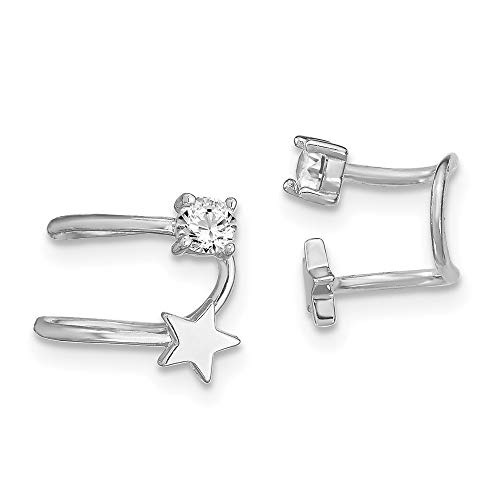 925 Sterling Silver Cubic Zirconia Cz Star Single Earrings Cuff Celestial Non Pierced Fine Jewelry For Women Gifts For Her