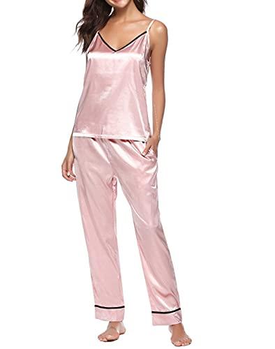 Conjuntos de Pijama de Primavera, Pijama de satn Sexy, Ropa de Dormir para Mujer, Pijama de Manga Corta de Verano de Gran tamao para Mujer