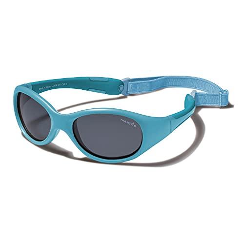 Mausito® Sonnenbrille Kinder Jungen 2-4 Jahre I Biegsame Kinder Sonnenbrille mit Band I 100% UV SCHUTZ Kindersonnenbrille I Cool kids sunglasses I Fahrradbrille, Blau Metallic, Einheitsgröße