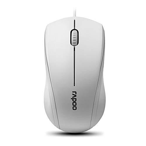 Rapoo N1600 3-Button Quiet Wired Mouse, 1000DPI Optical Mouse, Quiet Button, Ergonomic Shape, for Desktop Computers Laptops, Matte White