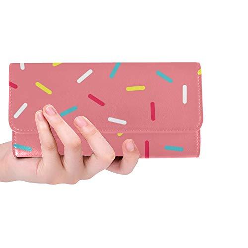 Einzigartige benutzerdefinierte rosa Donut Glasur dekorative Frauen Trifold Wallet Lange Geldbörse Kreditkarteninhaber Fall Handtasche