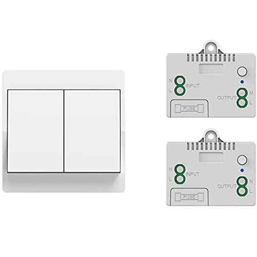 Kit de interruptor inalámbrico y sin batería autoalimentada – Mando a distancia de pared doble botón + 2 receptores empotrables instalación sin trabajos – Interior y exterior – Compatible con LED
