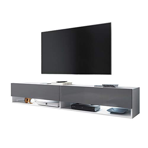 Selsey Wander - TV-Lowboard / Fernsehschrank Hängend mit LED RGB Weiß Matt / Grau Hochglanz 180cm
