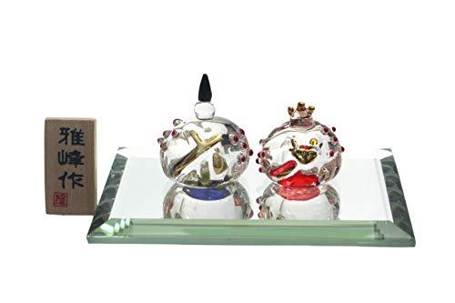 クラフトマンハウス ひな人形 ビードロ 色彩 丸雛 全長:男雛3cm・女雛2cm