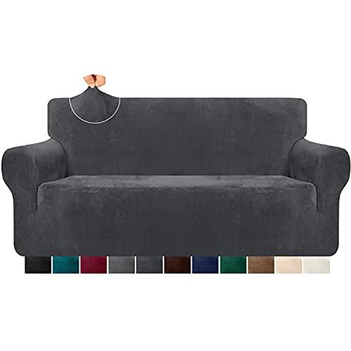 Granbest Super weiche Samt Sofabezug 3 Sitzer 1 Stück stilvolle Luxus Plüsch Sofabezug mit Schaumstoffstäben Spandex verdickt Möbelschutz Couchbezug (3 Sitzer,Grau)