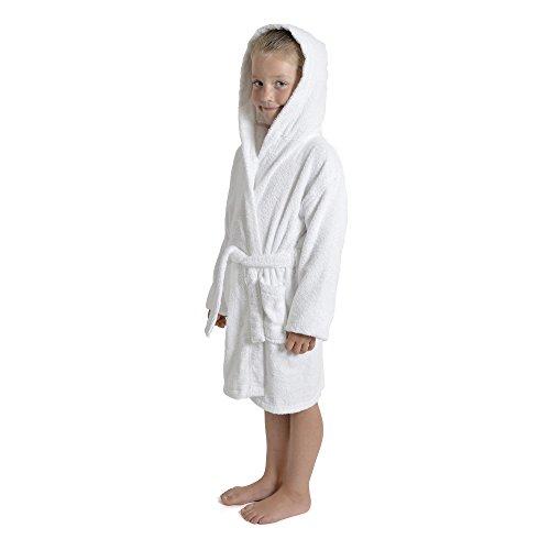 CityComfort Toalla para niños, niños, niñas, niñas, niñas, con capucha, toallero, albornoz, 100% algodón, toalla, tocador, bata, toallero, suave, salón, desgaste, 7-13 años (9-10 años, blanco)
