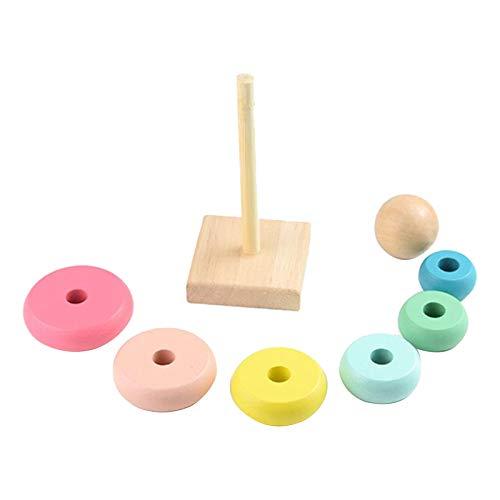 Hellery Juguetes de Madera para Niños Coloridos Rainbow Cognición Temprana de Juguetes Educativos