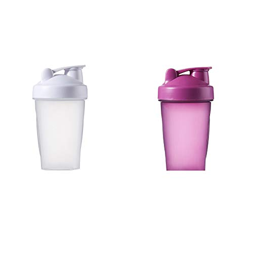 CLA JLT Shaker Bottle Protein Shakes and 16-Ounce Shaker Bottle with Wire Whisk Balls (purple+white(2PCS))