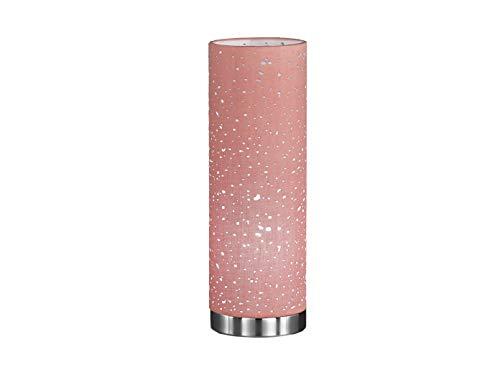 Honsel lámpara de mesa moderna con 3W LED, cromo/pantalla de tela hellpink con adornos, 12cm de diámetro