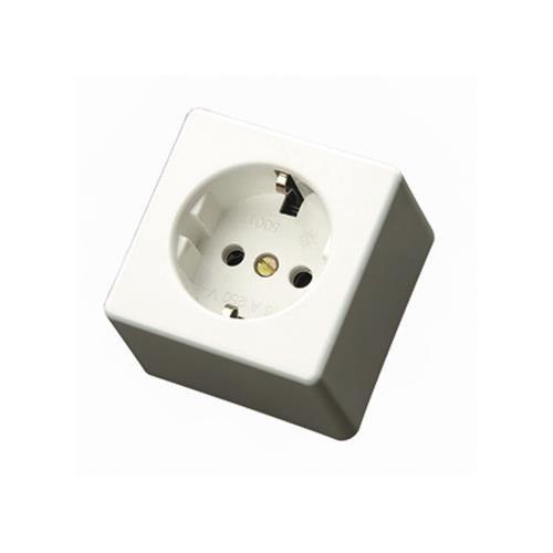 Duolec 900R4 - Base de enchufe superficie cuadrada T/T lateral Blanco Duolec