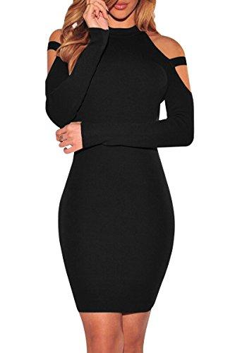 YMING Damen Kleid Elegantes Partykleid Figurbetontes Kleid Bodycon Stil Rollkragen Langarm...