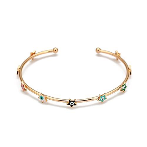 Pulsera de brazalete de ojo malvado turco con estrella multicolor, brazalete de cobre de Color dorado para mujeres y niñas, joyería de moda